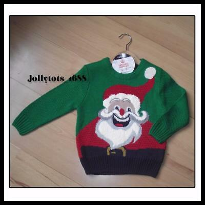 Baby Boys Christmas Jumper Age 12-18 Months Green Xmas Clothes Santa Jumper Top