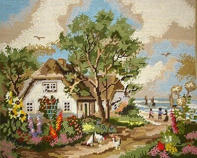 Vintage Orico Gobelin Cross Stitch Tapestry Picture Unframed House By The Sea