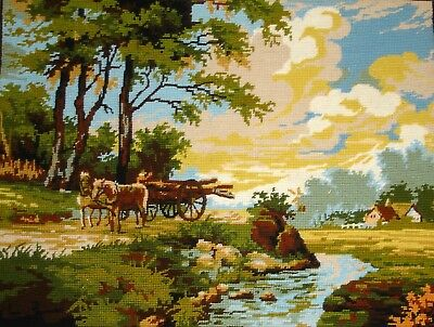 Vintage Cross Stitch Tapestry Picture Unframed River Banks