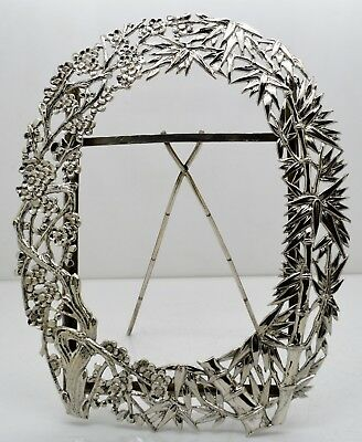 CHINESE EXPORT solid silver pierced PRUNUS + BAMBOO photo frame. WANG HING c1900