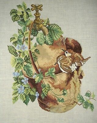 Counted Cross Stitch Unframed Linen Tapestry Picture Birds Wrens