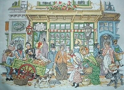 Completed Counted Cross Stitch Unframed Tapestry Picture Victorian Street