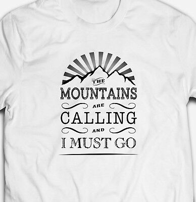 50b0221f98ac3 The Mountains Are Calling And I Must Go Hiking Camping Classic T-Shirt Tee  Top