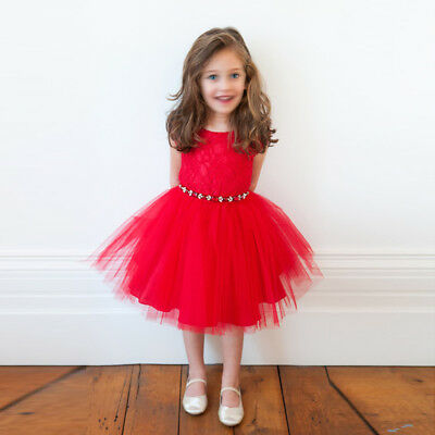 Kids Girls Christmas Dress Lace Tutu Red Princess Party Fancy Gown Xmas Costume