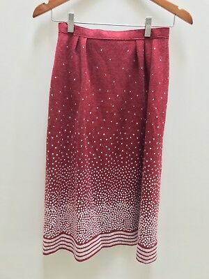 VINTAGE RED WOOL BLEND WINTER 3/4 SKIRT Size 10