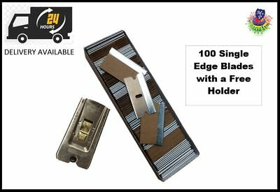 100 Single Edge Razor Window Scraper Blades With Free Scraper Blade Holder