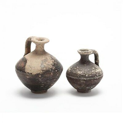 2 Authentic Antiquity Cypro-Geometric Black Slip Jugs circa 1000-750 B.C.