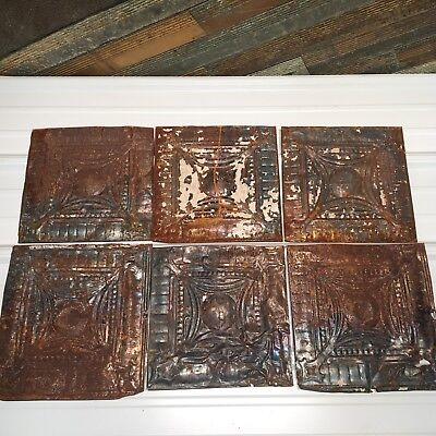 "6pc Lot of 12"" and under Antique Ceiling Tin Vintage Reclaimed Salvage Art"