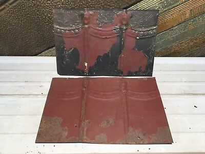 "2pc Lot of 17"" by 10.5"" Antique Ceiling Tin Vintage Reclaimed Salvage Art Craft"
