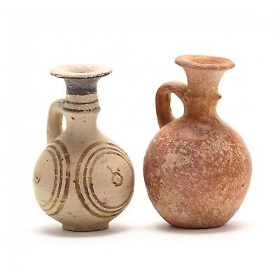 2 Authentic Antiquity Cypro-Archaic Small Terracotta Juglets circa 700-500 B.C.