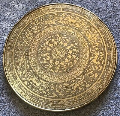 Large 60Cm Diam Antique Islamic Indian Ottoman Persian Brass Charger Table Top
