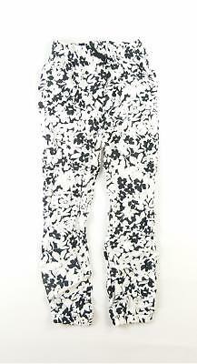 TU Girls White Floral Trousers Age 8
