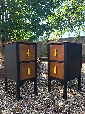VINTAGE ART DECO PAIR OF BEDSIDE TABLES CABINETS CHEST OF DRAWERS 1930s ANTIQUE