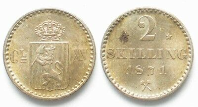 NORWAY 2 Skilling 1871 CARL XV of SWEDEN silver UNC!!! # 19670