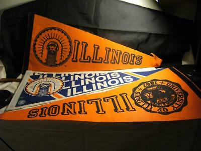 Vintage Illini University of Illinois pennant.  Lot of 3 great + Indian emblem.