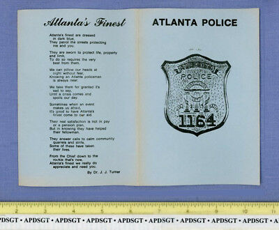ATLANTA POLICE PATCH in DEPARTMENT INFO FOLDER GEORGIA Sheriff Patch OLD VINTAGE