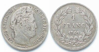 FRANCE 1 Franc 1837 W Lille LOUIS PHILIPPE I silver VF # 19629