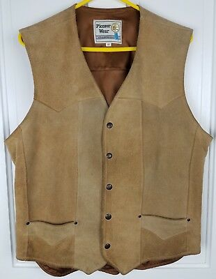 PIONEER WEAR Mens Tan Suede Leather Western Vest Size 42 Snap Front Lined
