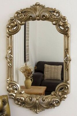 Large Wall Mirror 42 x 26 Rococo Style Ornate Silver