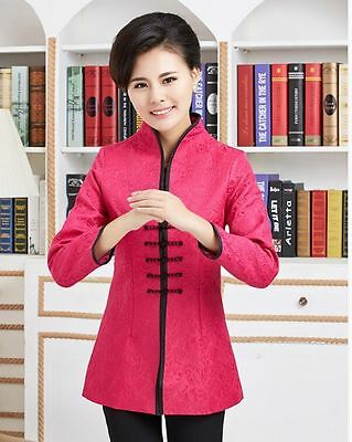 Green red Chinese Women/'s silk embroidery jacket //coat Sz:8 10 12 14 16