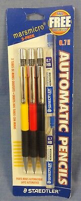 """Staedtler """"marsmicro"""" 3-Pack Of Mechanical Pencils, W/extra Leads, N.o.s.; Lot B"""