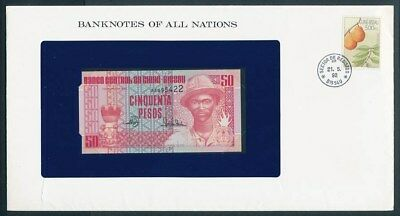 Guinea-Bissau: 1990 50 Pesos Note & Stamp Cover, Banknotes Of All Nations