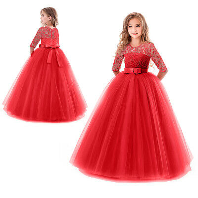 Kids Bridesmaid Lace Girls Dress For Wedding Party Dresses Christmas Costume