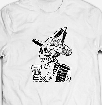 RETRO VINTAGE MEXICAN SKELETON BEER DAY OF THE DEAD 100% cotton Mens T-shirt Tee