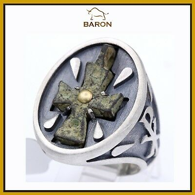 Antique Byzantine Cross Ring Set In Sterling Silver Gold Antique Bronze Size 12