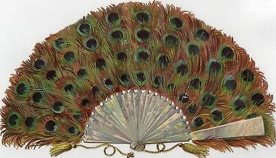 1800's Victorian - Large - 5 1/4 X 9 1/4 Inch Peacock Feather Fan - Diecut Scrap
