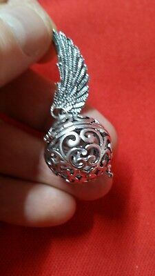 collectable miao silver carved ball feather pendant