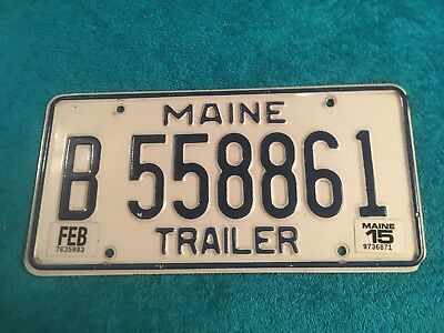 License Plate Maine Trailer Tag Licence Me Vacationland B 558861 Feb 2015