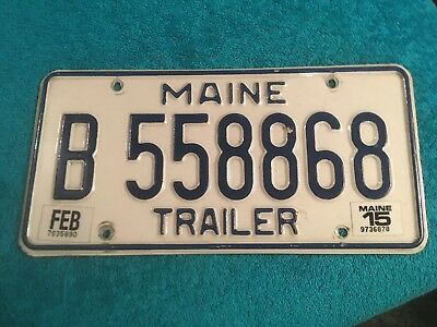 License Plate Maine Trailer Tag Licence Me Vacationland B 558868 Feb 2015