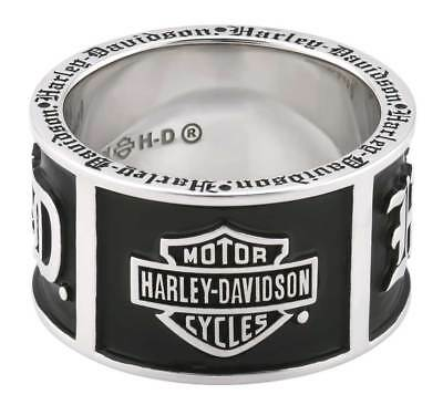 Harley-Davidson Men's Old English Script Bar & Shield Band Ring, Silver HDR0482