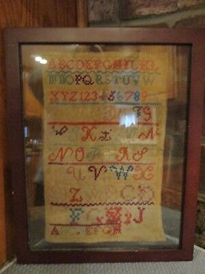 ANTIQUE VICTORIAN SAMPLER FRAMED - 19th Century - letters & numberes -dual sided