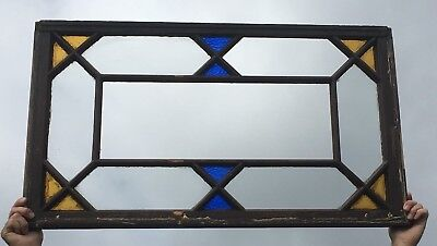 Antique Stained Colored Glass Transom Window Sash 23x40 Old Shabby Vtg 541-18E