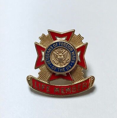 Vintage VFW Life Member Award Pin Veterans of Foreign Wars of the US Gold Filled