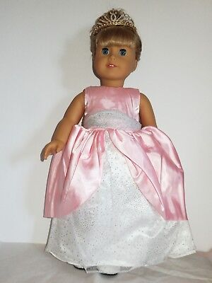 "Pink  and White Princess Gown  Fits 18"" American Girl  Dolls"