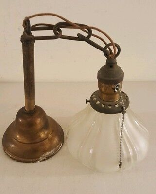 Antique Brass Art Deco Hanging Ceiling Light Fixture with Glass Pendant Shade