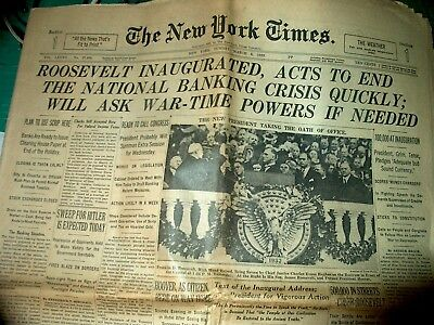 New York Times Newspaper March, 1933 President Roosevelt Inaugurated-28 Pages