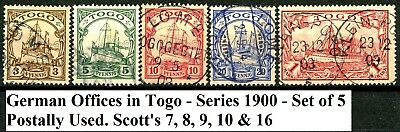 German Offices in Togo Series 1900 Postally Used Set Scott's 7, 8, 9, 10 & 16