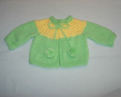 Baby KNIT SWEATER Tie String & pompoms - 6 Months Handmade the Crafty Grandmas