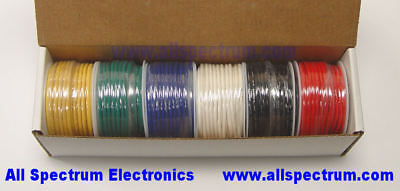 Hook Up Wire Set, 20AWG SOLID CORE, UL/CSA, 6 x 25 ft spools, Blk/Rd/Y/G/B/W