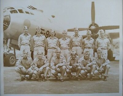 Vintage Wwii B-29 Bomber Photo With Crew Airplane