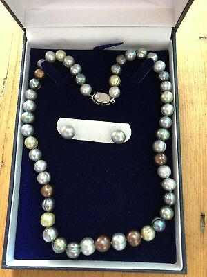 Honora Cultured Pearl Necklace And Earrings Set Brand New