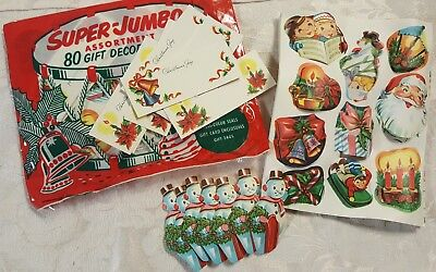 One PACK of 80 Vtg Antique CHRISTMAS Gift Name Tags Stickers Seals 1950's NOS