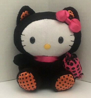 14b76ddf5d4 TY Beanie Babies Halloween Hello Kitty Black Cat Costume with Candy 6