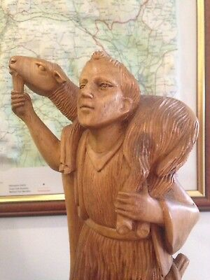 Antique Carved Statue Of Shepherd Wood Sheep Man Goat Herd  Relgious Christian