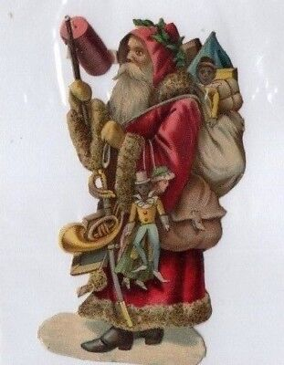 1800'S VICTORIAN - SANTA CLAUS w TOYS CHRISTMAS DIECUT  -SELLING LOT OF SCRAP