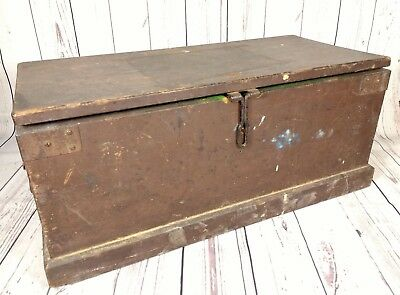 Vintage 1940s Wooden Tool Box Metal Handles & Hinges Solid Chest
